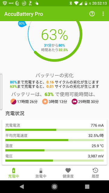 AccuBatteryの充電中画面