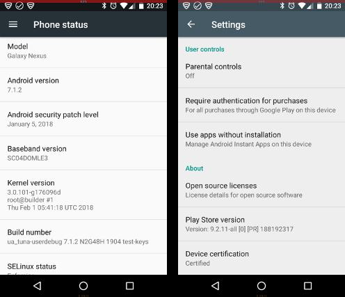 Galaxy Nexusの端末認証状態