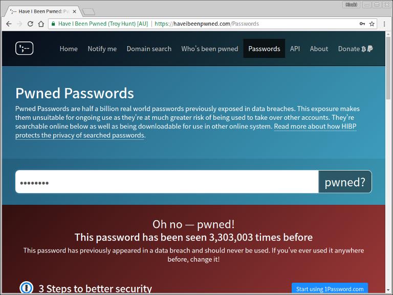Chromium - Pwned Passwords - password