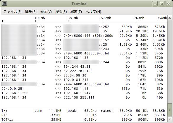 FreeeBSD - iftop - SD組一行表示