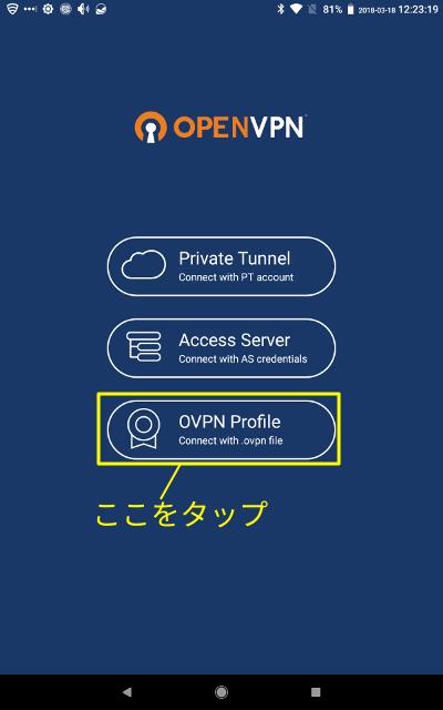 OpenVPN Connect起動画面