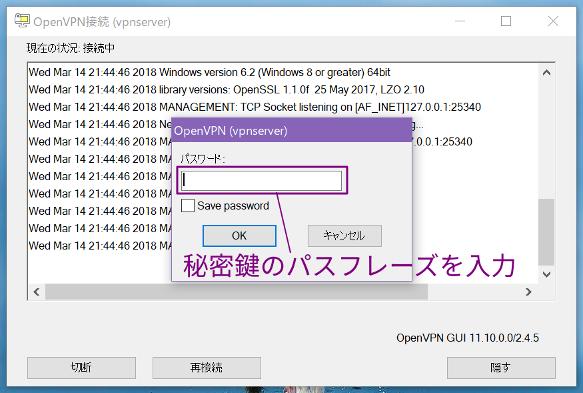 OpenVPN GUIのパスフレーズ入力画面